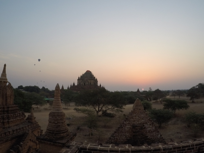 Hot air balloons in Bagan at Sunrise